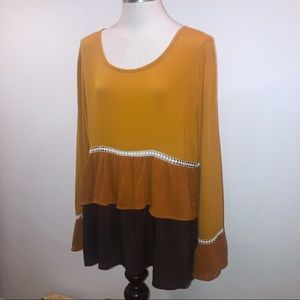 YELLOW OCHRE BROWN TIERED RUFFLED TOP SIGNATURE L